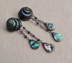 Abalone Spiral Gauged Earrings