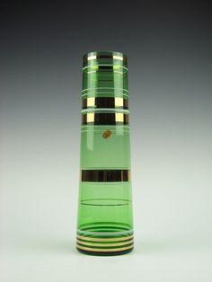 Borské Sklo green tapered glass vase with gold & white bands