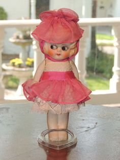 Vintage 1920's All Bisque Carnival Kewpie Style Doll All Original