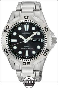 Seiko SNE107P1 - Reloj analógico de caballero de cuarzo con correa de acero inoxidable plateada (solar) - sumergible a 200 metros de  ✿ Relojes para hombre - (Gama media/alta) ✿
