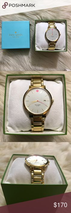"⚡️⚡️NWT Kate Spade ""gramercy"" watch NWT!  -34mm case -12mm strap -style #kswb0008 -mother of pearl dial …..a style that is as lovely as a walk in the park, this classic timepiece was inspired by manhattan's gramercy park, a charming neighborhood once host to writers oscar wilde and o. henry. crafted of stainless steel gold-plated metal with a mother-of-pearl dial, the versatile design lends itself perfectly to office attire and cocktail dressing alike. kate spade Accessories Watches"