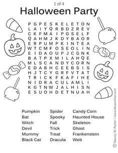 Printable Halloween Party Word Find Activity Sheet