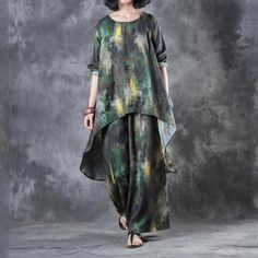 Buy Over 50 Style Green Prints Asymmetrical Top with Cotton Linen Wide Leg Trousers in Two-piece Outfits online shop, Morimiss offers Two-piece Outfits to make you feel comfortable Over 50 Womens Fashion, Fashion Over 40, 50 Fashion, Vintage Fashion, Fashion Sets, Fashion Trends, Petite Fashion, Suits For Women, Clothes For Women