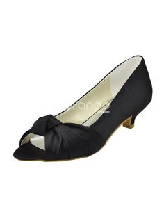 Black Peep Toe Bow Satin Bridal Wedding Shoes. See More Bridal Shoes at http://www.ourgreatshop.com/Bridal-Shoes-C919.aspx