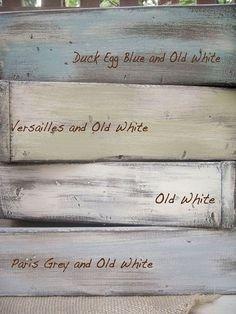 I looove Annie Sloan! Annie Sloan Chalk Paint colors: Duck Egg Blue, Old White, Versailles, Paris Grey Annie Sloan Chalk Paint Colors, Annie Sloan Paints, Annie Sloan Chalk Paint Furniture, Duck Egg Blue Chalk Paint, Distressing With Chalk Paint, Annie Sloan Colours, Chalk Paint Grey, Chalk Paint Colors Furniture, Chalk Paint Cabinets