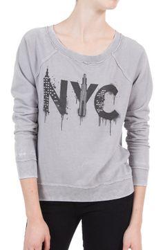@Chaser Brand NYC Stencil Fleece Raglan $85.00 #greysweatshirt #graphictee #sweatshirt #nyc #giftideas #giftsforher