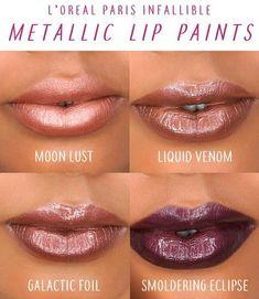 PAINTS/LIPS Metallic L & # Oreal Paris new infallible metallic lip colors. 4 new lip colors in liquid metal tones Moon Lust, Galactic Foil, Liquid Venom and Smoldering Eclipse. Metallic Lipstick, Lipstick Colors, Lip Colors, White Lipstick, Liquid Lipstick, Violet Lipstick, Lipstick Pencil, Lipstick Shades, Metalic Lips