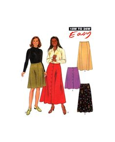 New Look 6706 Panelled or Button Front Skirts in Two Lengths, Uncut, Factory Folded Sewing Pattern Multi Plus Size New Look Patterns, Craft Patterns, Sewing Patterns, Button Front Skirt, All Things, Plus Size, Buttons, Knitting, Crochet