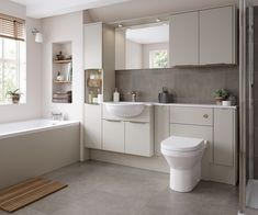 Contemporary crisp clean design provides a stunning backdrop for natural light. Book a design consultation with Gary Fullwood today. Small Bathroom Layout, Bathroom Ideas, Bathroom Designs, Fitted Bathroom Furniture, Fitted Bathrooms, Kitchens And Bedrooms, Beautiful Bathrooms, Bathroom Interior Design, House Styles