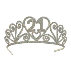 The perfect party crown for a 21st birthday girl, this extra sparkly accessory is made of lightweight yet sturdy metal that adjusts for the perfect fit.