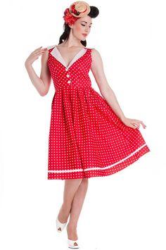 c767afbb4fbc Červené retro šaty Karen s bílými puntíky a kontrastním ... Vintage  Outfits