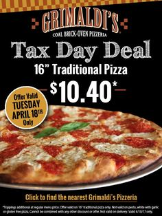 It's treat yourself Tuesday! Join Grimaldi's Pizza in Grand Boulevard today for their Tax Day Deal. #GrandBlvdFL