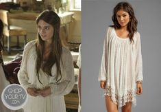 Kenna (Caitlin Stasey) wore this sheer gauze knit blouse with crochet hemline in an episode of Reign.