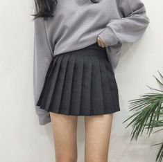 Designer Clothes, Shoes & Bags for Women Pleated Skirt Outfit Short, Pleated Mini Skirt, Skirt Outfits, Short Skirts, Mini Skirts, Grey School Skirts, Tennis Skirts, Home Design, Aesthetic Clothes