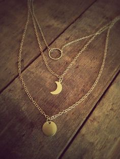 Lunar cycle necklace * Layer gold moon necklace * Gold filled and gold plated * Personalized gift note * Perfect gift *