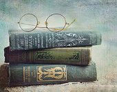 """Still life photography, """"Wooed and Married"""" fine art print, old books,teal books,antique,still life photograph, aqua books,reading glasses"""