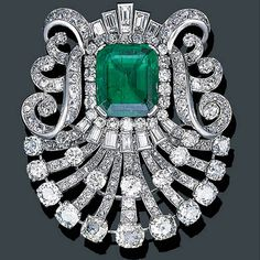 Mauboussin Art Deco Diamond Brooch with Colombian Emerald Center, circa 1925. Photo Courtesy of Christie's