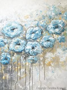 """Hopes and Dreams"" Original Large Art Abstract Painting. Light Blue Grey Gold Floral Painting. Modern, contemporary flowers peonies roses textured brush & palette knife, coastal, fine art, in shades of cobalt blue, pale aqua, light blue, teal, white, grey, gold, taupe, beige. Gallery fine art on canvas, wall art, home decor. Mixed media acrylic painting on 30x40x1.5"" gallery wrapped canvas. By Artist, Christine Krainock"
