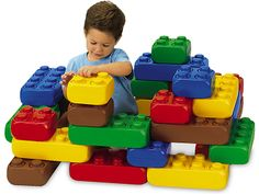 Easy-Build Bricks  Easy to hold and easy to stack, these jumbo-sized bricks make building a breeze! Lightweight plastic bricks have a simple, interlocking design that lets children press them together effortlessly…and keeps them in place until kids pull them apart.  28 plastic bricks in 5 colors and 2 sizes; large brick is 11 3/4″.    item# BR573