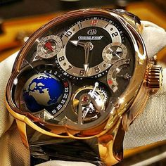 Close-up of the beautiful complications of the Greubel Forsey GMT. Credit Close-up of the beautiful complications of the Greubel Forsey GMT. Gents Watches, Stylish Watches, Luxury Watches For Men, Rolex Watches, Amazing Watches, Beautiful Watches, Cool Watches, Skeleton Watches, Vintage Pocket Watch