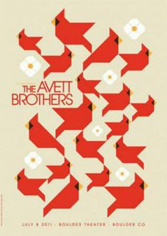 Original silkscreen concert poster for The Avett Brothers at The Boulder Theater in Boulder, CO in 2011. This poster features the Cardinal and the Dogwood, the state bird and flower of North Carolina. 17 x 24 inches on card stock. Signed and numbered out of 200 by the artist Dan Stiles.