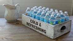 Bottled Drinks Rustic Pantry Storage Crate or Serving Station - Knick of Time Pantry Storage, Diy Storage, Rustic Storage Boxes, Wooden Crates For Storage, Water Bottle Storage, Metal Tub, Bottle Display, Style Pantry, Ideas Para Organizar