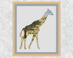 Giraffe cross stitch pattern modern wildlife safari animal