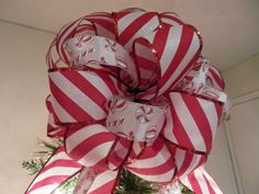Large Candy Cane stripe red and Christmas Candy Tree topper bow by creativelycarole on Etsy