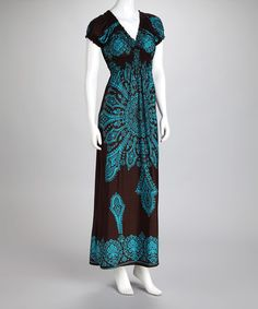 This Turquoise Arabesque Maxi Dress is perfect! #zulilyfinds