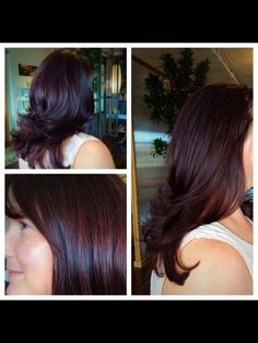 Mahogany Hair.   Fall Hair. Brown Red Violet.  An old pic of my work when I was in NC....  Dimensional Mahogany Brown with a blow out. Her hair is extremely curly, by the way. Hair by me:   Lindsay Accomando from Rock/Paper Beauty Lounge in Roanoke, VA. @la1001