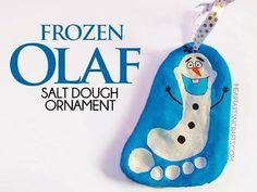 CUTE!! Frozen Olaf Salt Dough Ornament - Easy Christmas ornament made from your child's footprint!