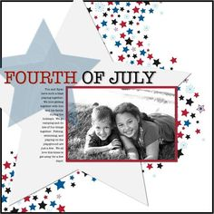 Cheerful Stars and Stripes Digital Additions for MAC Scrapbooking Layout