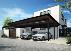 Carport Shade, Carport Canopy, Pergola Carport, Metal Barn Homes, Metal Building Homes, Pole Barn Homes, Car Porch Design, Garage Design, House Design