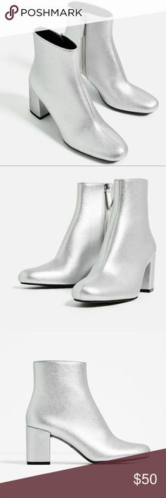 "Zara silver booties New without tag. Heel height 2.5"". No trades. Price firm. Zara Shoes Ankle Boots & Booties"