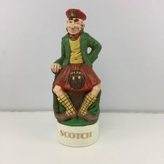 Vintage Albertas Decanter Cowboy Scotch Scottish Man Kilt Liquor Ceramic Hat Lid Figurine Bar Home Decor by AmazingTasteVintage on Etsy