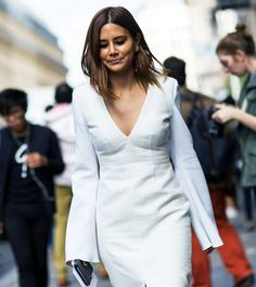 Long sleeve v-neck dress. // #StreetStyle #PFW