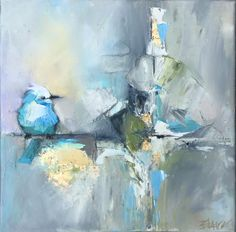 HOME - Blaire Wheeler Fine Art abstractartblue Abstract Canvas, Canvas Art, Abstract Art Blue, Animal Paintings, Bird Art, Art Oil, Painting Inspiration, Collage Art, Painting & Drawing