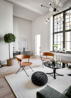 Stockholm apartment - amazing high ceilings and industrial style windows