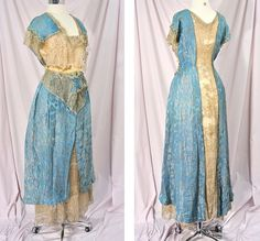 """Edwardian aqua silk evening dress with fur and rhinestones at the waist, circa 1912-1914 