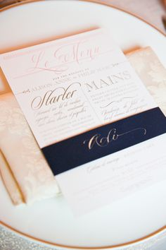 Wedding in a French Chateau Photography by www.oneandonlyparisphotography.com Pink and Navy Letterpress Reception Menu