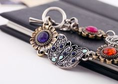 Vintage Alloy Bracelet With Different Colors Artificial Gemstones - View All - New In