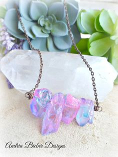 Jewelry For Girls Pink Solar Druzy Long Chain Silver Overlay 96 Gram Necklace 34-36