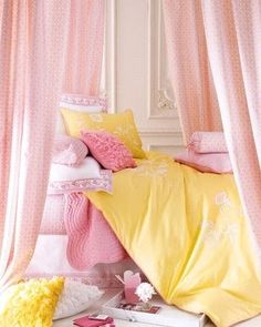Pretty pink & yellow bedding for a girls room.