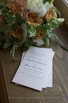 Wedding ceremony programs in barely blush stock with classic navy ink.  Planning and Design by Pineapple Productions.  Programs by Cheree Berry Paper.  Floral Design by Beehive Events. Photography by Lynne Brubaker.