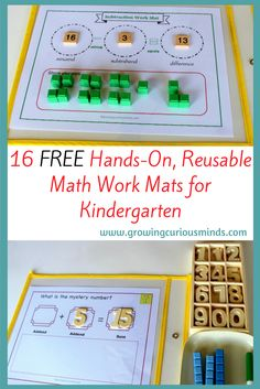 Kindergartener not into worksheets? Try these awesome, hands-on reusable math work mats that are engaging and fun for your child.  #kindergarten #kindergartenmath #handson