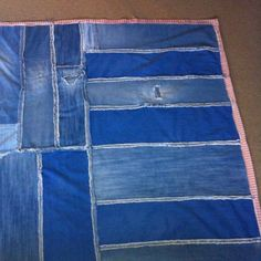 Denim scrap lap blanket