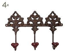 Set de 4 percheros de hierro y cerámica con 3 colgadores