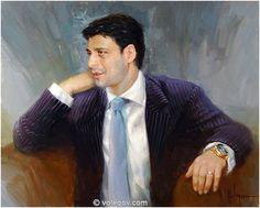 MAN'S PORTRAIT,  pictures on Volegov.com Portrait Pictures, Portraits, Vladimir Volegov, Ecole Art, Buy Posters, Female Portrait, Famous Artists, Figure Painting, Scenery