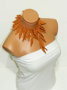 Hand made crochet brown cinnamon ivy leafs by WomanStyleStore, $23.00