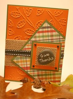 "HAPPY # ""Give - Basteln Karten - halloween cards Diy Thanksgiving Cards, Holiday Cards, Christmas Cards, Happy Thanksgiving, Christmas Music, Christmas Movies, Making Greeting Cards, Greeting Cards Handmade, Handmade Fall Cards"